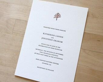 Letterpress Wedding Invitation - Redwood - simple, tasteful botanical Letterpress Wedding Invitation
