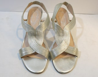 Silver gold shoes Leather mid heels open toe sling back