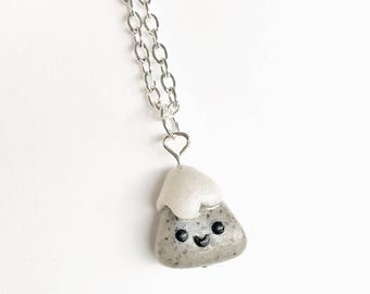 Snowcapped Mountain Necklace, Polymer Clay, Pendant, Charm Jewelry, Kawaii Shop, Premo