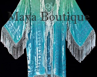 Wearable Art Jade Turquoise Burnout Velvet Kimono Jacket Hand Dyed Maya Matazaro Made in USA