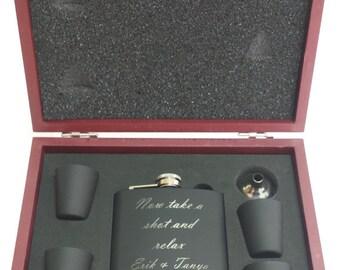 Laser Engraved Flask Set, Weddings Gift, Bridesmade Gift, Groomsman Gift, Mens Gift, Bestman Gift, Grooms Gift, Wedding Party Gift, Men