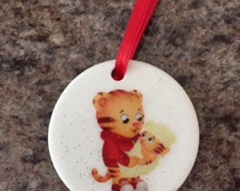Daniel Tiger's Neighborhood ~ Daniel and Baby Margaret ~ Porcelain Christmas Ornament~Red