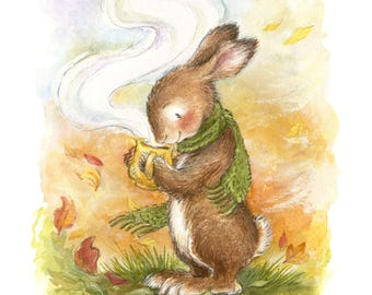 Autumn Bunny - Illustration, Art Print, Woodland Animal, Scarf, Cozy, Warm, Tea, Coffee, Winter Decor, Thanksgiving, Fall Leaves, Rabbit