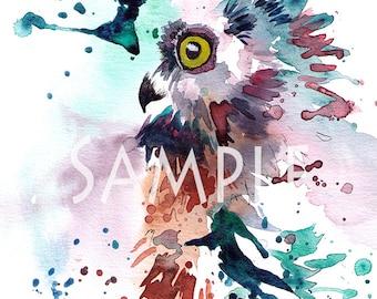 Owl Splatter Watercolour Giclee Print