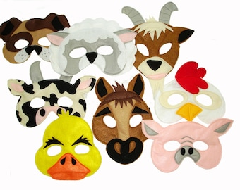 Children's Barnyard Farm Animals Felt Super Combo of 8 Masks