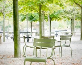 Paris photography, Luxembourg Garden photos, Mint green chair, Autumn leaves, Fall in Paris, fallen leaves, Travel photo, wanderlust,