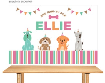 DIGITAL FILE Backdrop Poster: Puppy Birthday Printable Banner Backdrop 60x40 inches, Puppy Doggy Party Theme Banner Poster PDF