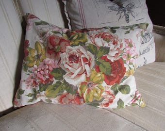 Vintage Rose Fabric Pillow