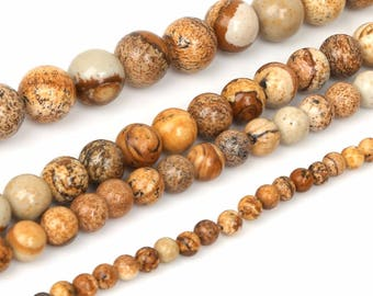 Picture Jasper, Round Loose Beads,  Natural Stone Bead For Jewelry Making Earrings Bracelet Necklace DIY Jewelry4/6/8/10/12mm