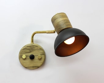 Wall light with on/off switch. Wooden wall lamp with swing arm. Brass and walnut lamp. Mid century style sconce