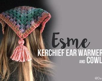 Crochet Pattern // Esme Kerchief Ear Warmer & Cowl // Easy