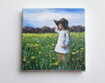 original acrylic painting, litte girl painting, small painting, landscape, original painting, bohemian painting, acrylics canvas, original