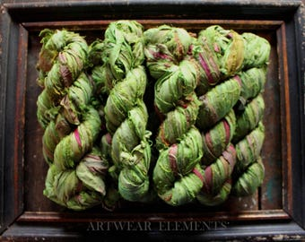 Pure Sari Silk, Iguana Mix, 100g Skein, Chartreuse, Recycled Sari Silk, Fair Trade, Fabric, Ribbon, Sari silk, ArtWear Elements, 220A