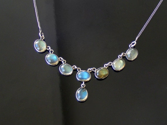 Vintage Labradorite Necklace | Sterling Silver with Electric Blue Flash Labradorite Cabochons | Gemstone Necklace - 45cm or 17.7 Inches Long