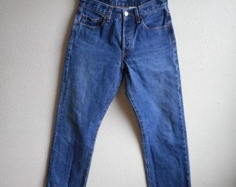 vintage dark wash lee dungaree denim indigo blue jeans high waist made in usa 30 X 30 ypoOdnF