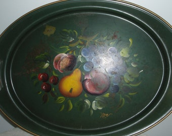 Hand Painted Metal Tray, Metal Serving tray with Fruit , Olive green Tole painted Metal Tray with Fruit.  Artist signed Van from Nashco