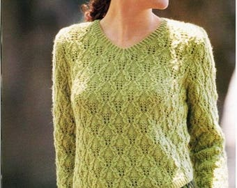 Ladies green sweater made of hand made wool / custom made