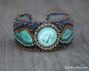 Sleeping Angel Bead Embroidered Cuff Bracelet.... Green, Gold and Blue