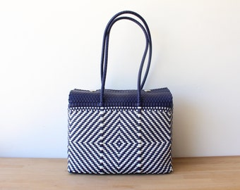Navy Blue & White Mexico Bag, Handwoven Mexican Tote, Oaxaca Tote, Mexican Plastic Bag, Mexican Basket, Mexican Art, MexiMexi, Picnic Basket