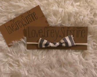 Grey and White Knot Headband, Nylon Headband, Baby/Toddler Headband