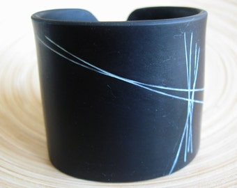 SALE Abstract Black Cuff Bracelet, Modern Design, Polymer Clay Jewelry by theshagbag on Etsy