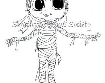 Descarga instantánea Digital Digi sellos grandes ojos momia principal grande muñecas Digi por Sherri Baldy