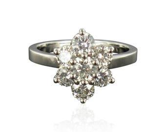 Bague diamants platine marguerite Platine Moderne  Classique