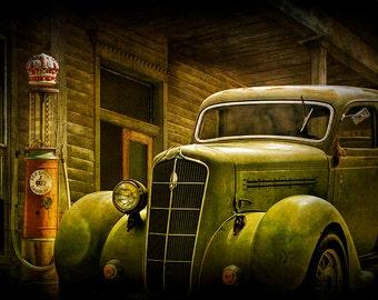 Classic Car, Vintage Auto, Red Crown, Gas Pump, Nostalgic Time, Service Station, Historical Vehicle, Car Fine Art, Automobile Photograph