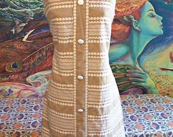 RARE SIZE, 60s, Dress, Ethnic, sleeveless, Tan, Modern, Shift, XL