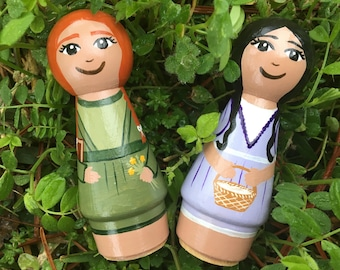 Anne of Green Gables inspired Peg Dolls - Anne Shirley and Diana Barry