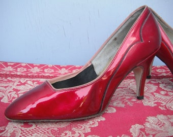 Sassy RED Patent  Softly Rounded Toe Pumps / Red Vinyl Pumps
