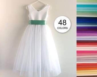Flower girl dress, V-neck Communion Graduation Wedding Bridesmaid Baptism Birthday Satin Floor Length Maxi Long, 48 sash colors, GRACE WHITE
