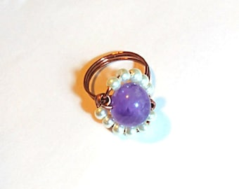 Pearly Purple Amethyst Orbit Ring