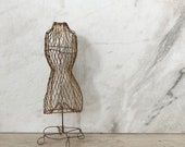 vintage wire dress form miniature mannequin in gold, fun girls room decor, jewelry stand, sophisticated fashionista rustic luxe