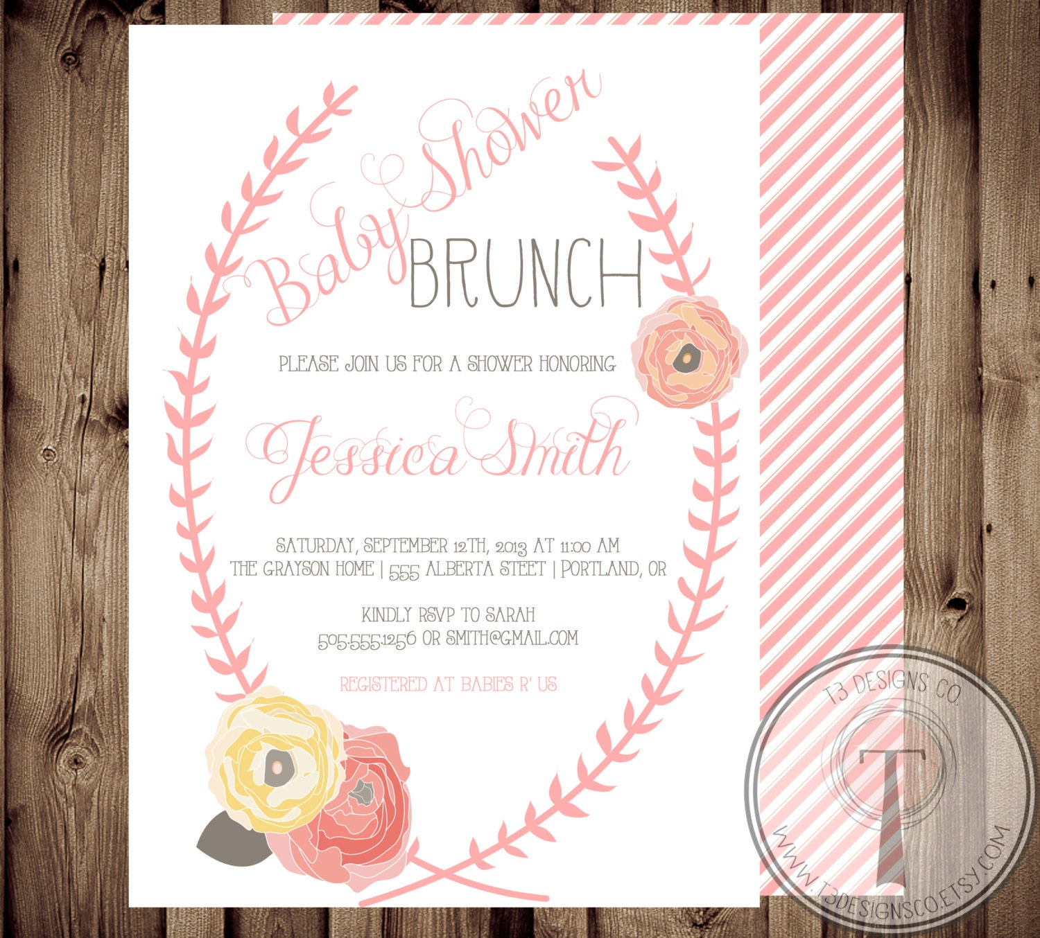 Baby Shower Invitation BABY GIRL Floral Shabby Chic