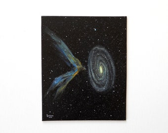 Cosmos 9 - Galaxy and nebula painting on canvas panel, original acrylic space painting, 8 x 10