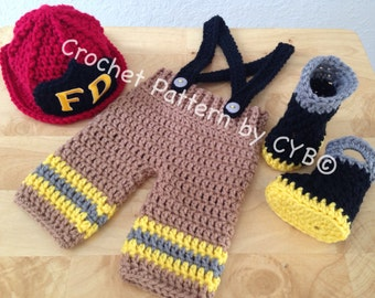 CROCHET PATTERN, Newborn Size, Baby Firefighter Fireman Hat, Pants, Suspenders & Boots