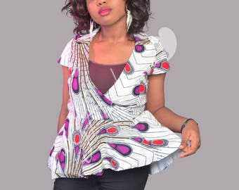 African Fashion Blouse, African Peplum Top, African Outfit, Classy African Top,
