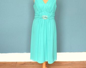Vintage 80's Aqua Green Grecian Style Dress UK Size 16