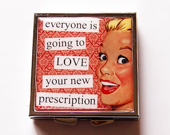 Funny pill case, Square Pill case, Gift for Friend, Funny pill box, Pill Case, Square Pill box, Prescription, Retro, Gift for her (5233)