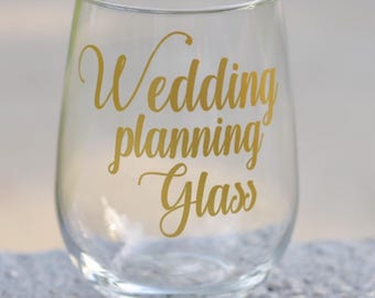 Wedding planning wine glass