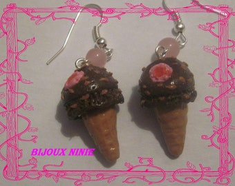 Strawberry Chocolate Ice earrings in polymer clay