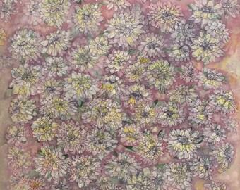 Floral Acrylic Painting Pink Daisies Flowers Original Art Ontario Artist Judy M. Roth