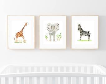 Set of Three Animal Prints, Giraffe, Elephant, Zebra, Watercolor Art Prints, Nursery Wall Decor, Safari Theme, Baby Shower Gift, Kids Room
