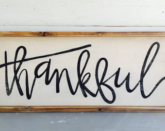 thankful|  Large Rustic Sign | Home Decor | Mantle Sign | Gallery Wall