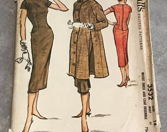 Vintage Misses Sheath Dress and Coat Ensemble / 1950s McCalls Sewing Pattern / Size 14, Bust 32 / McCall's 3532