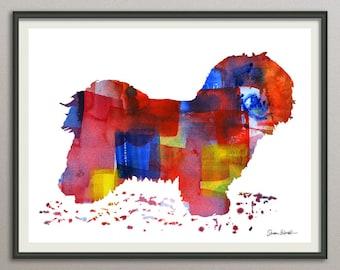 havanese dog art print watercolor print  silhouette painting print poster wall art decor drawing, dog wall art silhouette