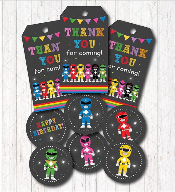 Instant Download Power Rangers Thank You Tags And Cupcake