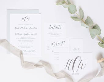 Monogram Wedding Invitation RSVP Postcard Clean Invite SAMPLE