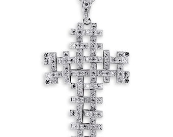 Solid 925 Sterling Silver White CZ Weave Cross Necklace
